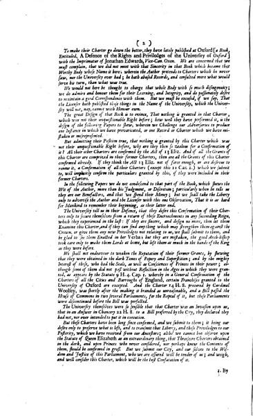 The case of the city of Oxford: shewing how far the said city is concerned to oppose the confirmation of the charters of the University by parliament. With an answer [by W. Wright?] to [pt.2, by J. Harrington of] a late pamphlet entitled A defence of the rights and priviledges of the University of Oxford [by G. Langbaine and J. Harrington.].