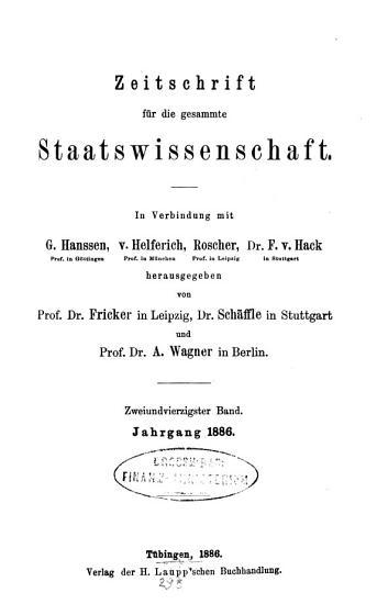 Zeitschrift f  r die gesamte Staatswissenschaft PDF