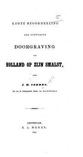 Korte beoordeeling der ontworpen doorgraving van Holland op zijn smalst
