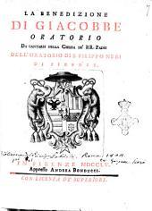 La benedizione di Giacobbe oratorio da cantarsi nella chiesa de' rr. padri dell'oratorio di S. Filippo Neri di Firenze