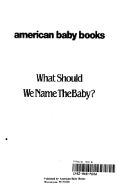 What Should We Name the Baby  PDF