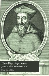 Un collège de province pendant la renaissance: les origines du Collège d'Auch (1540-1590)