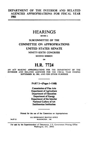 Department of the Interior and Related Agencies Appropriations for Fiscal Year 1981  Commisson of Fine Arts
