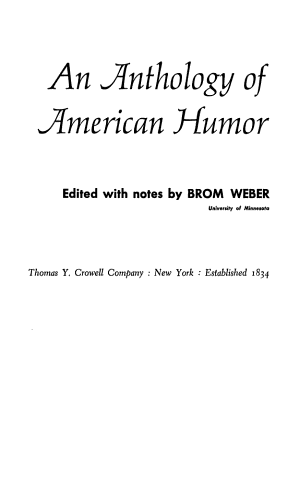 AN ANTHOLOGY OF AMERICAN HUMOR