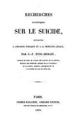 Recherches statistiques sur le suicide: appliquées à l'hygiène publique et à la médecine légale