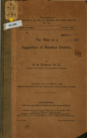 The War as a Suggestion of Manifest Destiny