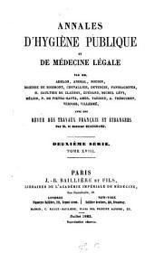 Annales d'hygiène publique et de médecine légale: Volume18