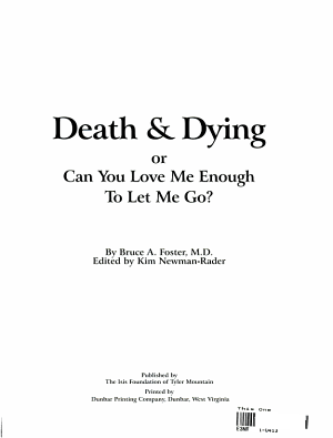 Death   Dying  Or  Can You Love Me Enough to Let Me Go  PDF
