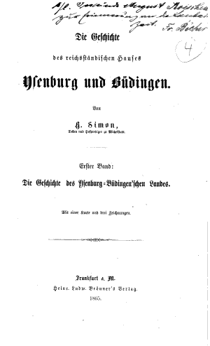 Geschichte des Ysenburg B  dingen schen Landes