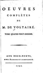 Oeuvres complètes de M. de Voltaire: Volume91