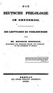 Die deutsche Philosophie im Grundriß: Ein Leitfaden zu Vorlesungen