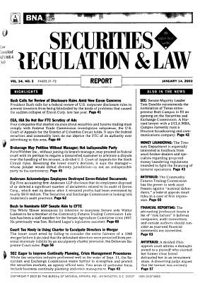 Securities Regulation   Law Report PDF