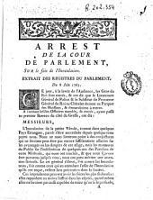Arrest de la Cour de Parlement, sur le fait de línoculation: Extrait des Registres du Parlement du 8 juin 1763