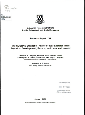 The COBRAS Synthetic Theater of War Exercise Trial PDF