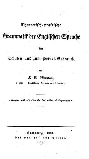 Theoretisch praktische Grammatik der englischen Sprache PDF