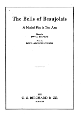 The Bells of Beaujolais: A Musical Play in Two Acts