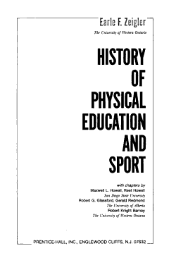 History of Physical Education and Sport PDF