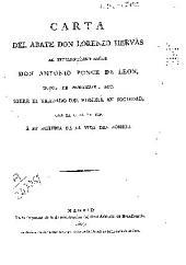 Carta del abate Don Lorenzo Hervás al excelentísimo señor Don Antonio Ponce de León ... sobre el tratado del hombre en sociedad, con la qual da fin a su Historia de la vida del hombre