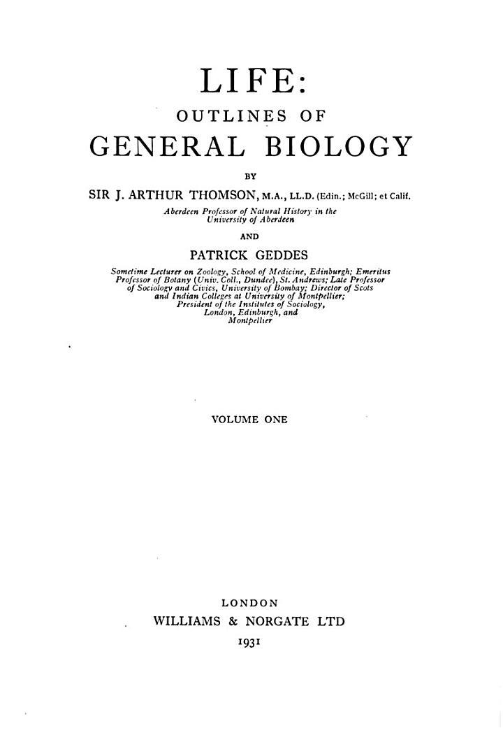 Life: Outlines of General Biology