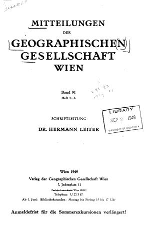 Mitteilungen der Geographischen Gesellschaft Wien PDF