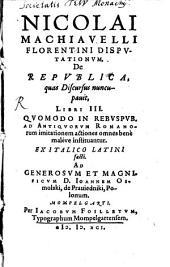 Disputationum de Republica quas discursus nuncupavit Libri III