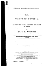 Western Pacific: Report on the British Solomon Islands