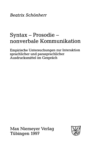Syntax  Prosodie  nonverbale Kommunikation PDF
