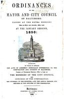 The Ordinances of the Mayor and City Council of Baltimore PDF