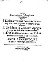Exercitationum philol. ternarius ... De punctorum vocal. Ebraeorum neque cum literis neque cum verbo Dei scripto coaevitate ...