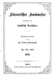Literarischer Handweiser zunächst für alle katholische Deutschland: Band 15,Ausgaben 183-200