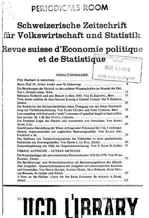 Revue suisse d economie politique et de statistique PDF