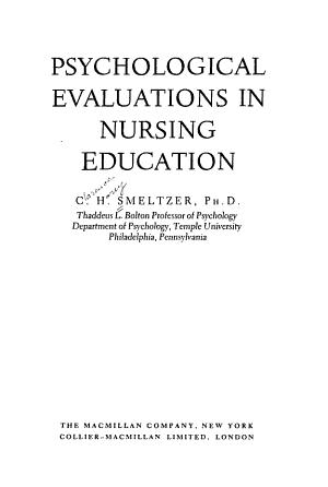 Psychological Evaluations in Nursing Education PDF