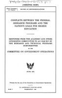 Conflicts Between the Federal Research Programs and the Nation s Goals for Higher Education PDF