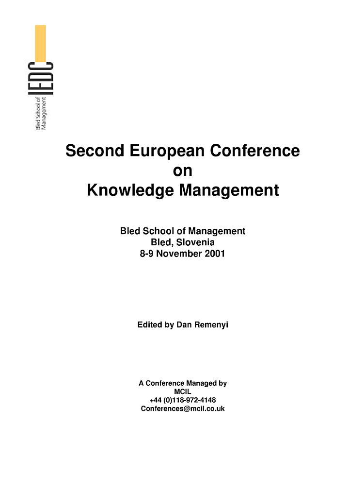 Second European Conference on Knowledge Management