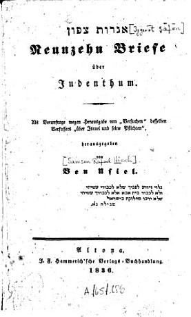 Neunzehn Briefe   ber Judenthum PDF