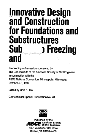 Innovative Design and Construction for Foundations and Substructures Subject to Freezing and Frost PDF