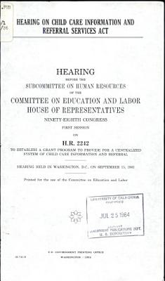 Hearing on Child Care Information and Referral Services Act PDF
