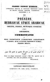 Poeseos Hebraicae atque Arabicae: origine, indole, mutuoque consensu atque discrimine commentatio
