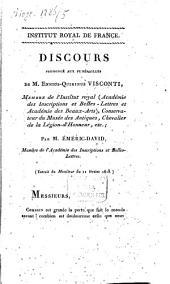 Discours prononcé aux funérailles de M. Ennius-Quirinus Visconti