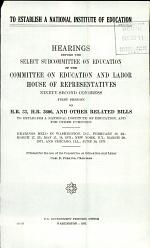 To Establish a National Institute of Education