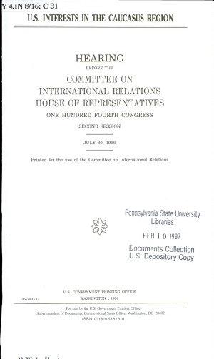 U S  Interests in the Caucasus Region