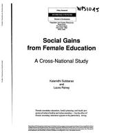 Social Gains from Female Education: A Cross-national Study, Parts 63-194