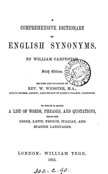 Download A comprehensive dictionary of English synonymes Book
