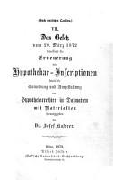 Das Gesetz vom 20  M  rz 1872 betreffend die Erneuerung von Hypothekar Inscriptionen sowie die Anmeldung und Umgestaltung von Hypothekarrechten in Dalmatien PDF