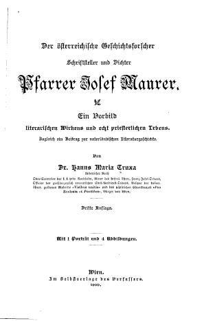Der   sterreichische geschichtsforscher  schriftsteller und dichter Josef Maurer PDF