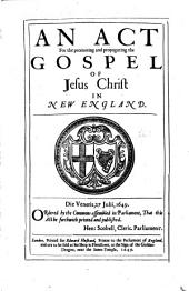 An Act for the Promoting and Propagating the Gospel of Jesus Christ in New England