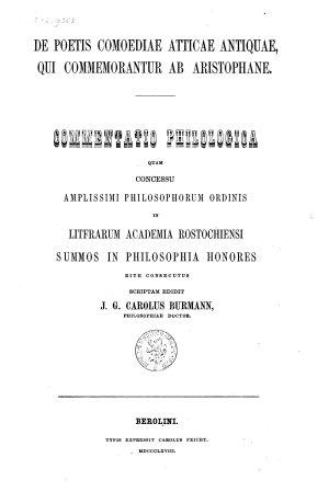 De poetis comoediae Atticae antiquae qui commemorantur ab Aristophane PDF