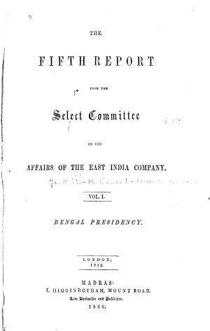 The Fifth Report from the Select Committee on the Affairs of the East India Company
