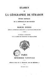 Examen de la géographie de Strabon: étude critique de la méthode et des sources