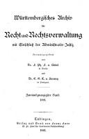 W  rttembergisches Archiv f  r Recht und Rechtsverwaltung  mit Einschluss der Administrativ Justiz PDF